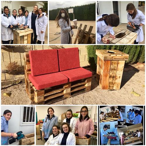 Creación de mobiliario del centro con materiales orgánicos
